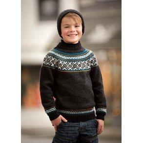 59cca298b96f Drenge sweater med rundt bærestykke - Gratis PDF strikkeopskrift
